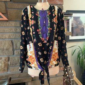 Vintage Carole Little boho tie blouse